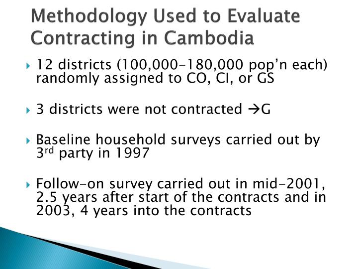 Methodology Used to Evaluate Contracting in Cambodia