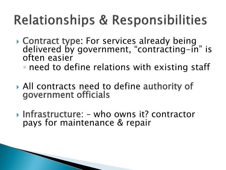 Relationships & Responsibilities
