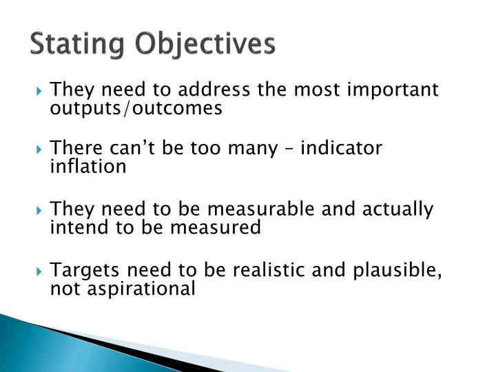 Stating Objectives