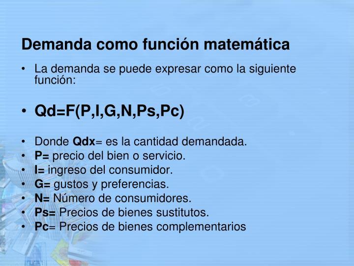 Demanda como función matemática