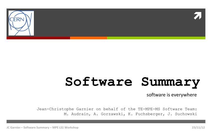 software summary n.
