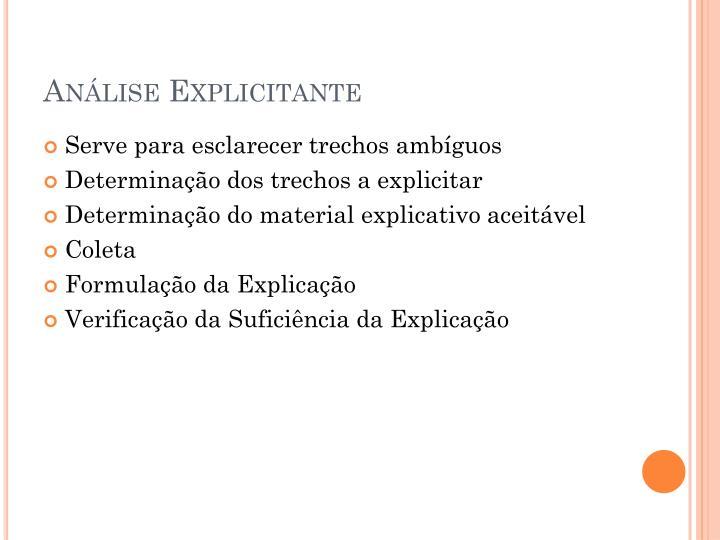 Análise Explicitante