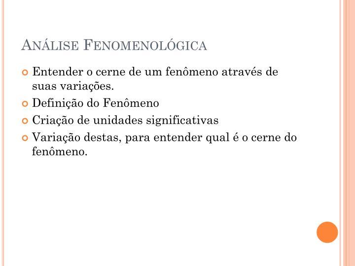 Análise Fenomenológica