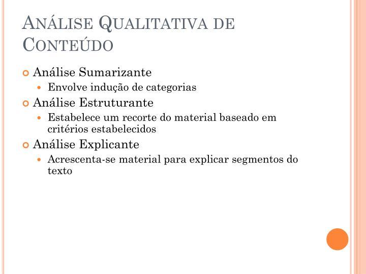 Análise Qualitativa de Conteúdo