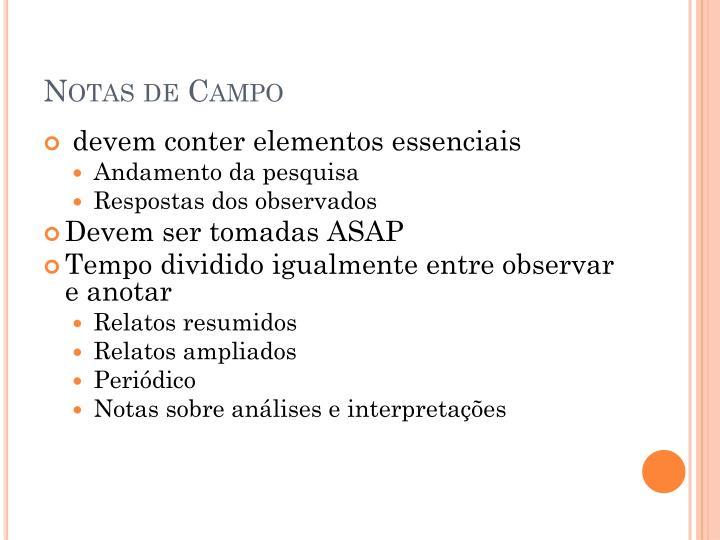 Notas de Campo