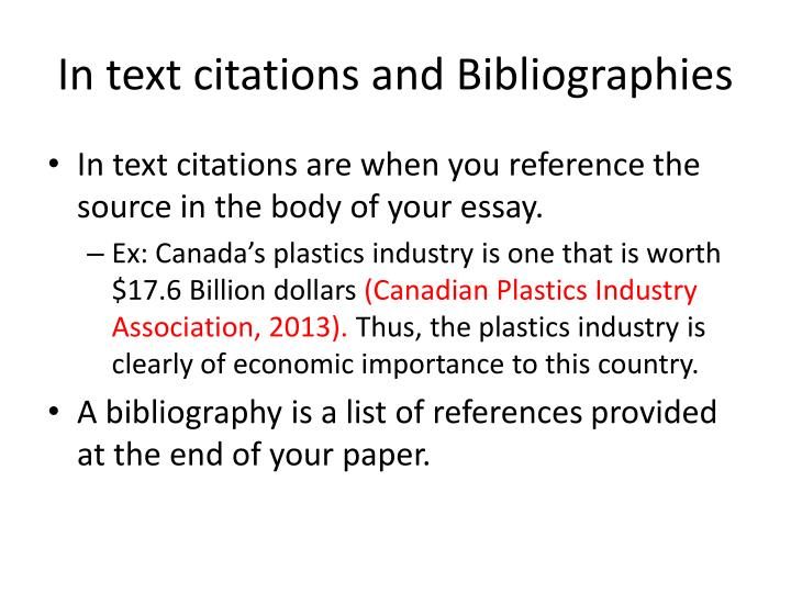 In text citations and Bibliographies