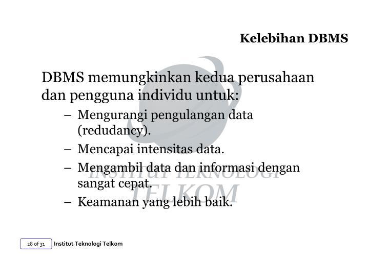 Kelebihan DBMS