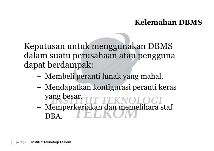 Kelemahan DBMS
