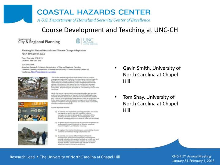 course development and teaching at unc ch n.