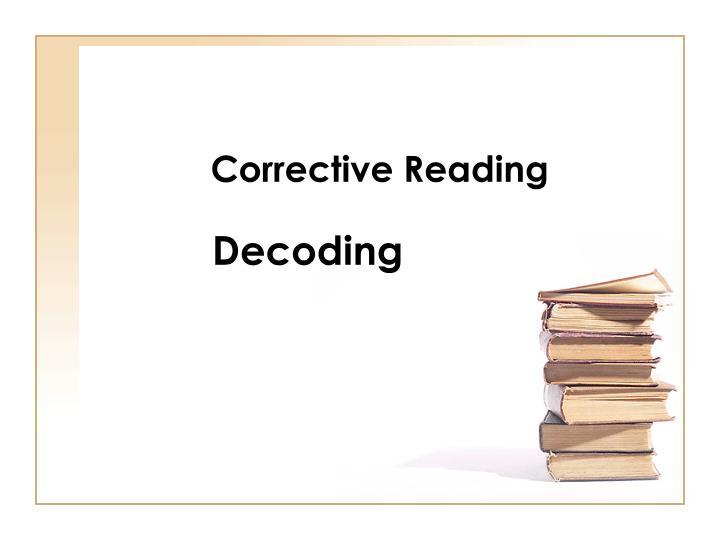 corrective reading n.