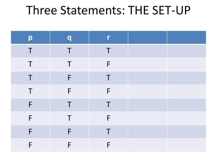 Three Statements: THE SET-UP