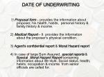 date of underwriting