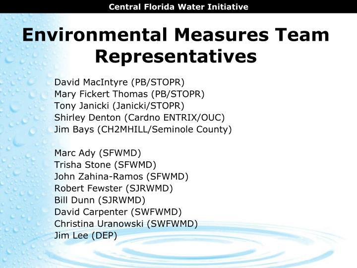 Environmental measures team representatives