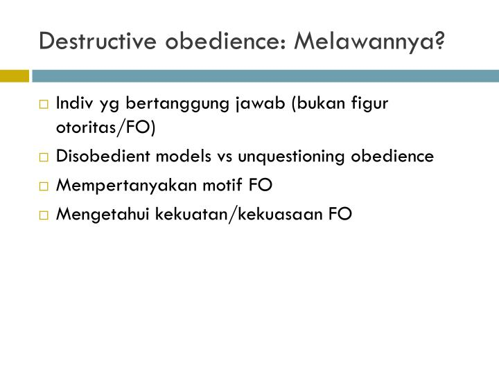 Destructive obedience: