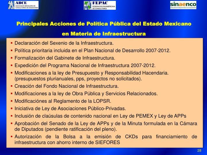 Principales Acciones de Política Pública del Estado Mexicano