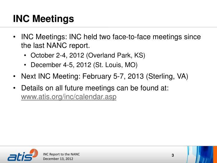 Inc meetings