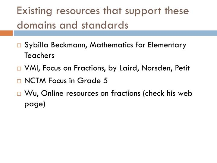 Existing resources that support these domains and standards