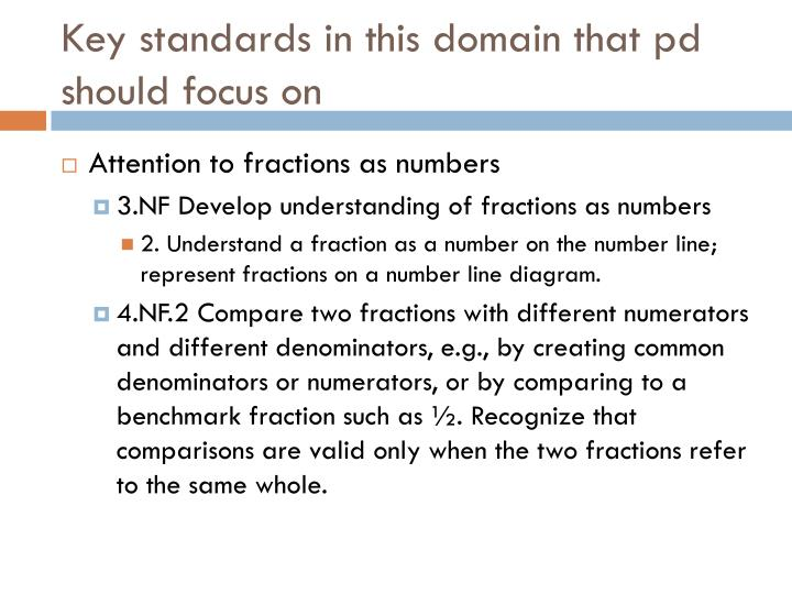 Key standards in this domain that pd should focus on