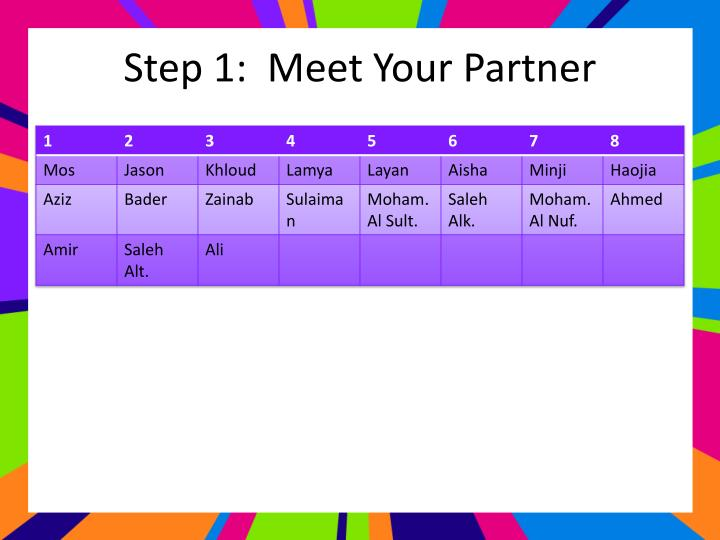 Step 1:  Meet Your Partner