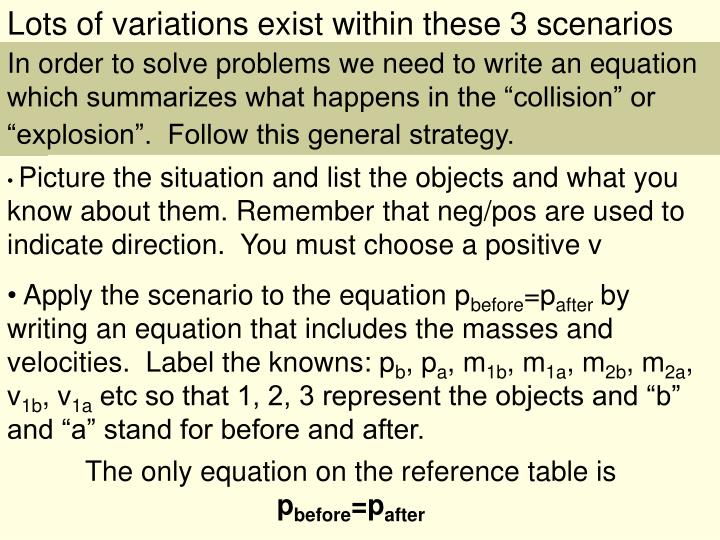 Lots of variations exist within these 3 scenarios