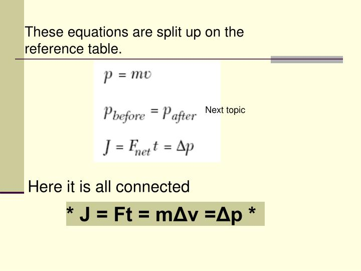 These equations are split up on the reference table.