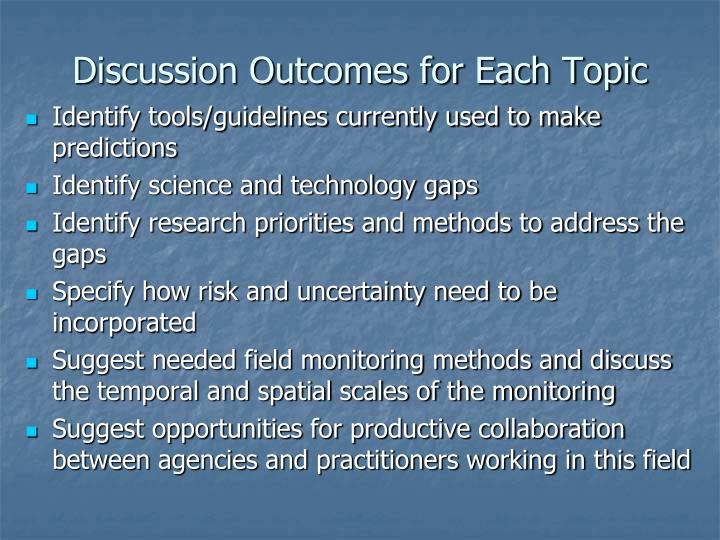 Discussion Outcomes for Each Topic