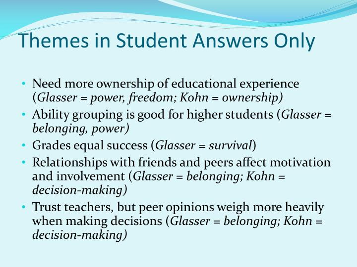 Themes in Student Answers Only