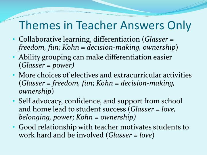 Themes in Teacher Answers Only