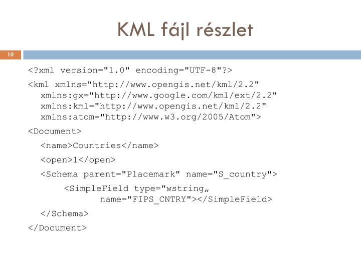 KML fájl részlet