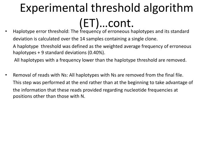 Experimental threshold algorithm (ET)…cont.