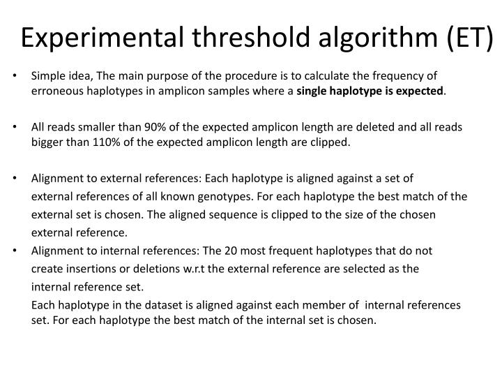 Experimental threshold algorithm (ET)