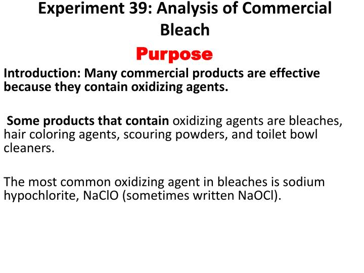 experiment 39 analysis of commercial bleach