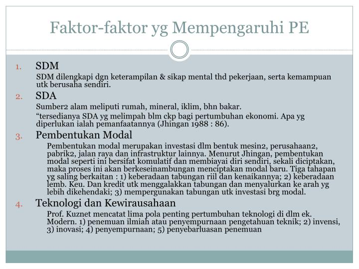 Faktor-faktor yg Mempengaruhi PE