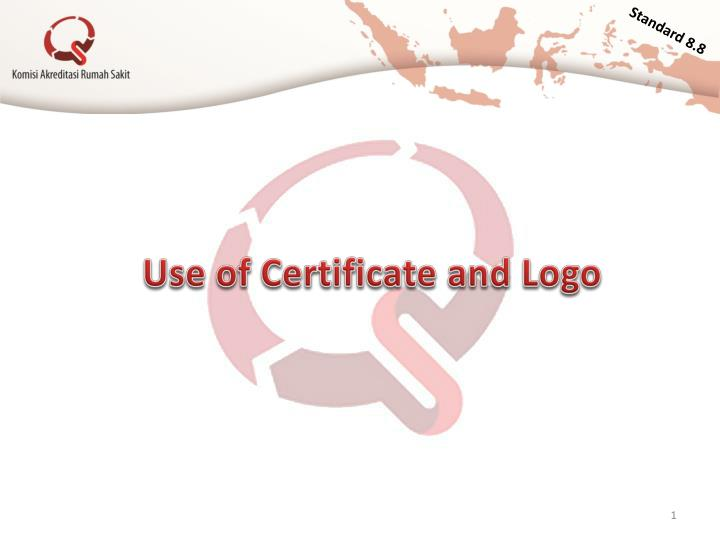 use of certificate and logo n.