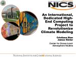an international dedicated high end computing project to revolutionize climate modeling