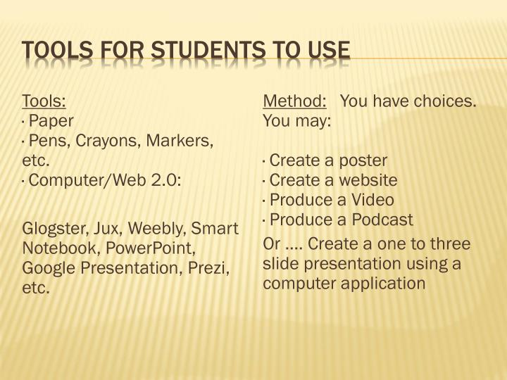 Tools for students to use