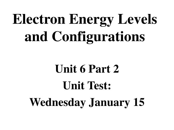 electron energy levels and configurations n.