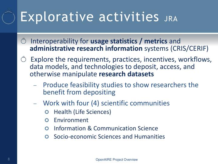 Explorative activities