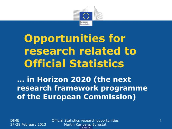 opportunities for research related to official statistics n.