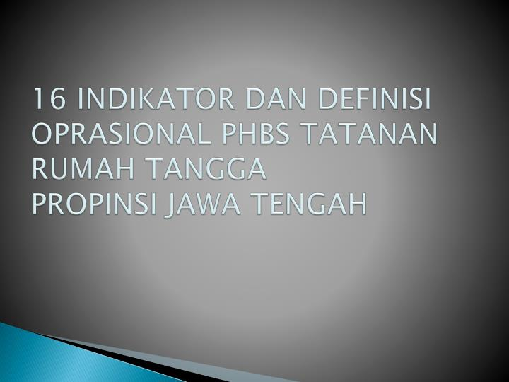 16 INDIKATOR DAN DEFINISI OPRASIONAL PHBS TATANAN RUMAH TANGGA