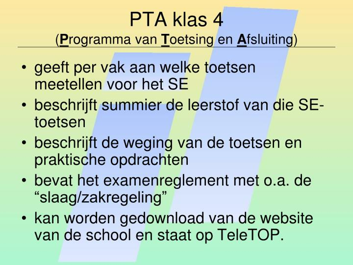 PTA klas 4