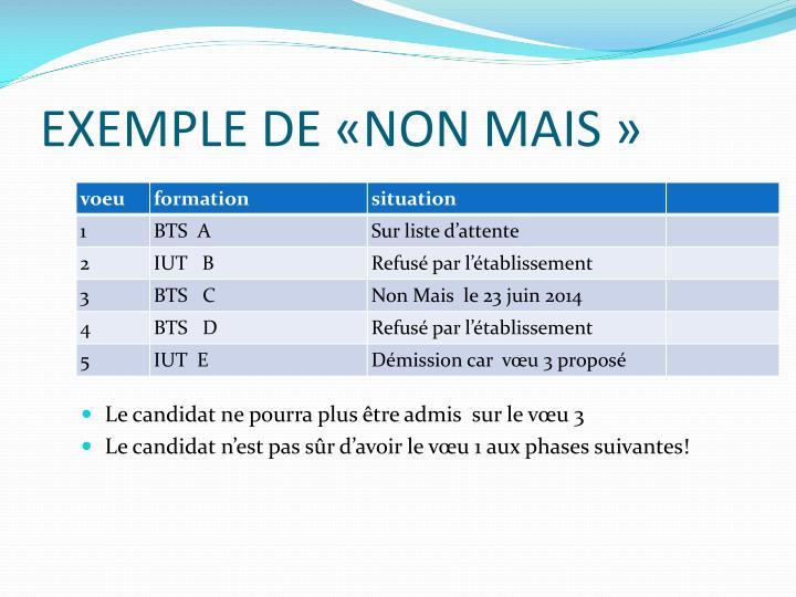 EXEMPLE DE «NON MAIS»