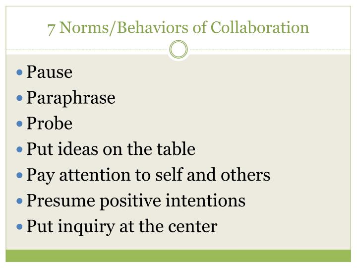 7 norms behaviors of collaboration