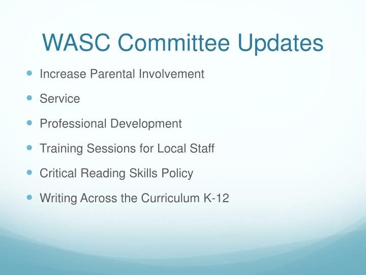 WASC Committee Updates