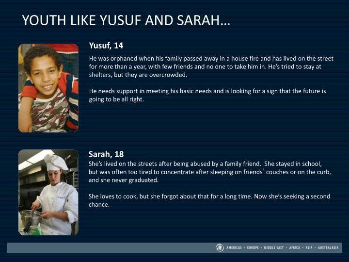 YOUTH LIKE YUSUF AND SARAH…