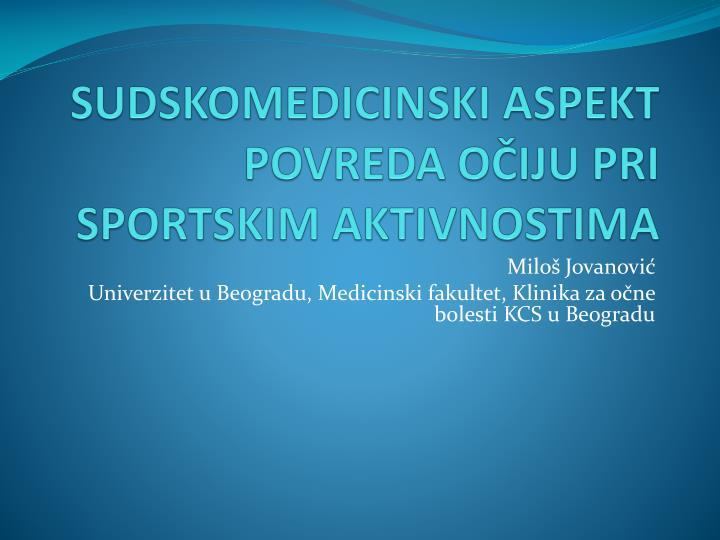 Sudskomedicinski aspekt povreda o iju pri sportskim aktivnostima