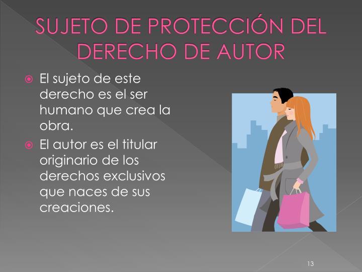SUJETO DE PROTECCIÓN DEL DERECHO DE AUTOR