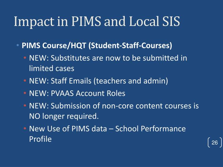 Impact in PIMS and Local SIS