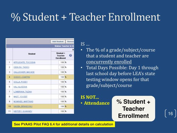 % Student + Teacher Enrollment