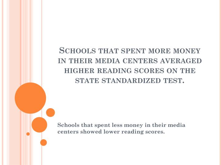 Schools that spent more money in their media centers averaged higher reading scores on the state standardized test.